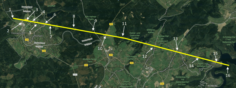 Carte reprenant le parcours de la tornade de Roetgen du 13 mars 2019. Source : Google Maps