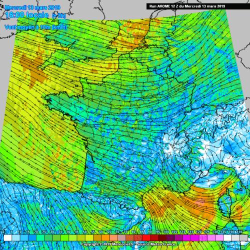Carte des vents moyens en surface le 13 mars 2019 à 16h00. Source : Meteociel
