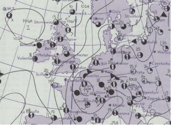 Observations météorologiques du 4 juillet 1975. Source : Metoffice