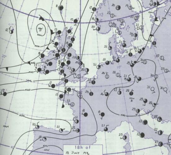Analyse de surface du 18 juillet 1976 à 19h00. Source : Met Office