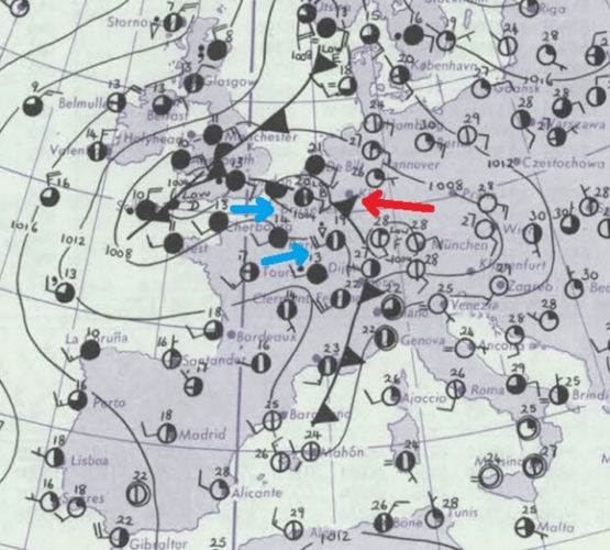 Situation météorologique du 10 août 1977. Source de la carte : Met Office (Daily Weather Report)