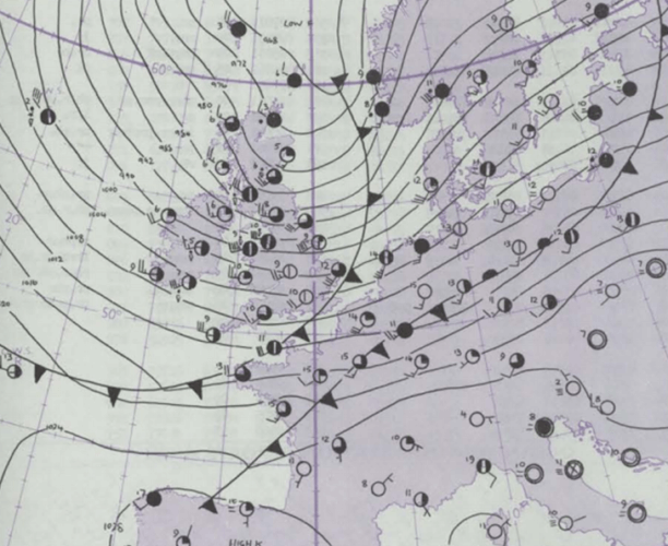 Situation atmosphérique du 12 novembre 1977. Source : Met Office (Daily Weather Report)