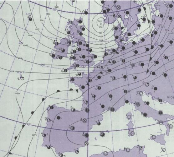 Situation météorologique du 24 décembre 1977. Source: Met Office (Daily Weather Report)