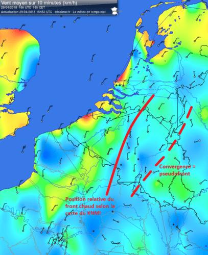 Cartes des vents le 29 avril 2018 à 18h00. Source : Infoclimat. Tracés : Hubert Maldague (Info Météo)