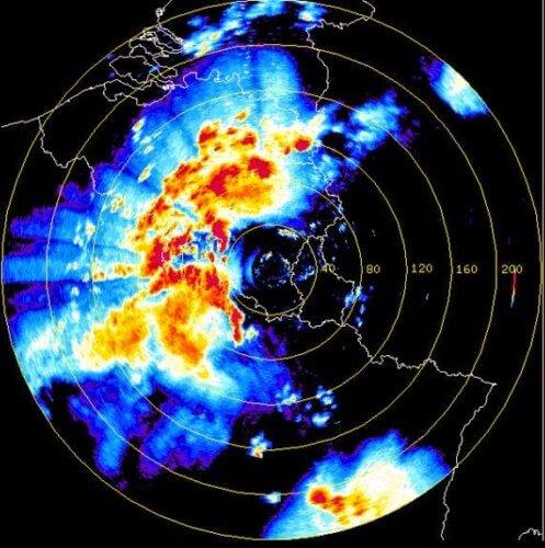 Image radar de Wideumont vers 3h45 le 20 juin 2002 (source: IRM).