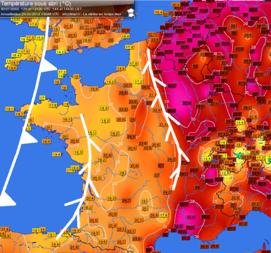 Carte des températures du 30 juillet 2002 à 14h00. Source : Infoclimat.