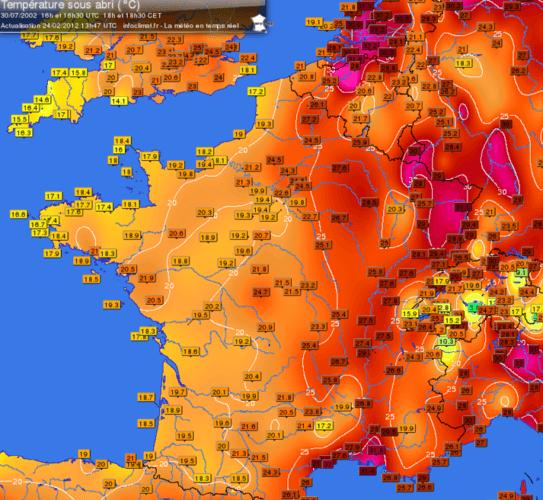 Carte des températures du 30 juillet 2002 à 18h00. Source : Infoclimat.