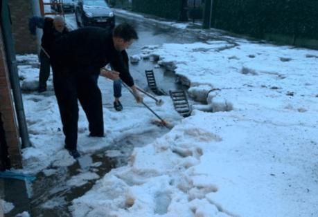 Intenses chutes de grêle à Houdeng, en province de Hainaut, le 7 avril 2019. Source : RTBF