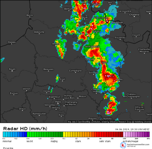 Système orageux organisé en LEWP sur la Marne et l'Aisne, en France, le 4 juin 2019 à 19h30. Source : Kachelmann