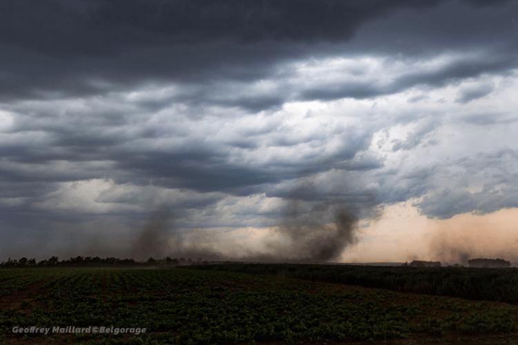Soulèvements de poussière au passage du front de rafales dans la région de Landen, en province du Brabant Flamand, le 4 juin 2019. Crédit photo : Geoffrey Maillard.