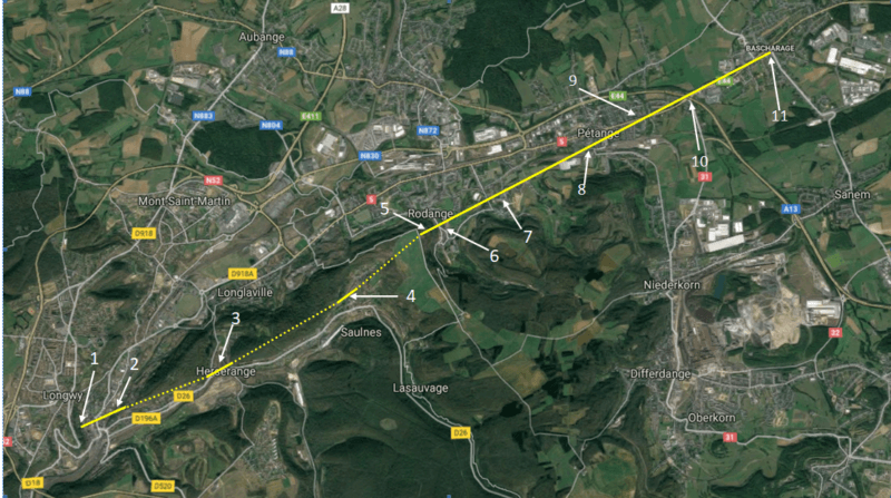 Carte illustrant le parcours de la tornade de Pétange, le 9 août 2019 au Luxembourg et en France. Source : Google Maps
