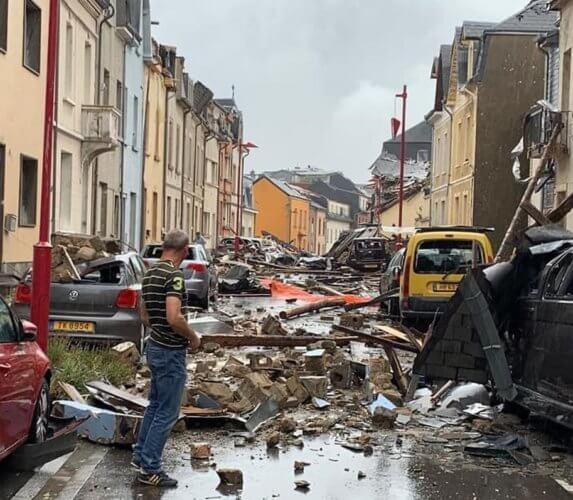 Dégâts constatés à Pétange, au Grand-Duché de Luxembourg, après le passage d'une tornade le 9 août 2019. Crédit photo : CGDIS