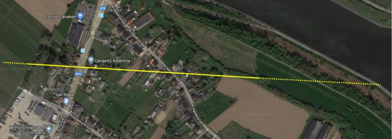 Parcours de la tornade de Briegden (Lanaken) du 20 février 2020. Source : Google maps.