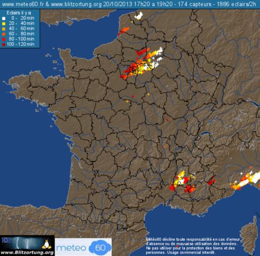 Impacts de foudre entre 17h20 et 19h20 le 20 octobre 2013. Source : Meteo60