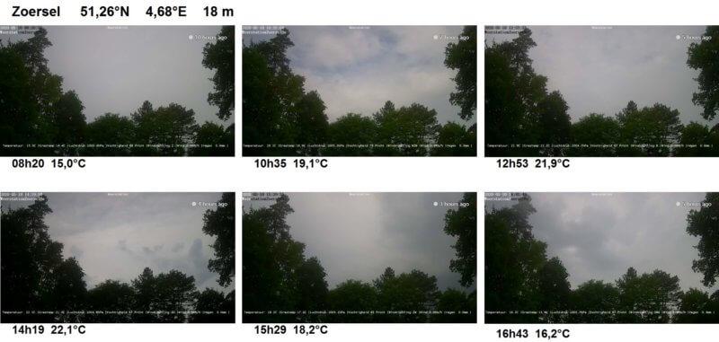 Captures d'écran de la webcam de la station météorologique de Zoersel.