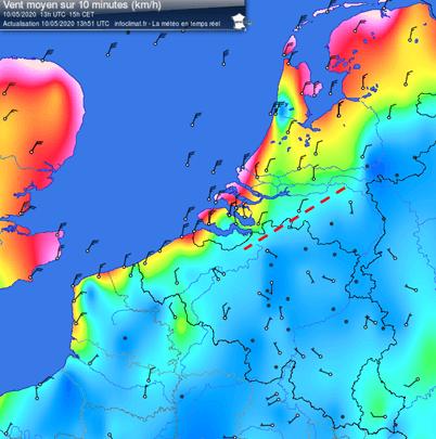Carte illustrant la force et l'orientation du vent au sol en Belgique le 10 mai 2020 à 15h00. Le trait en pointillé montre la présence d'une ligne de convergence. Source : Infoclimat