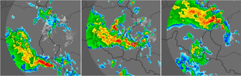 Composition radar de précipitations montrant l'évolution des orages entre 19h00 et 21h00, le 12 juin 2020. Source: Kachelmann Wetter.
