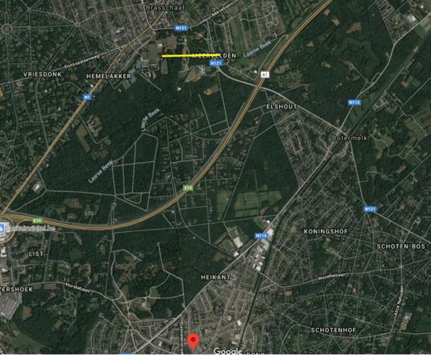 Parcours de la tornade de Braaschaat du 5 octobre 2020. Source de la carte : Google Maps
