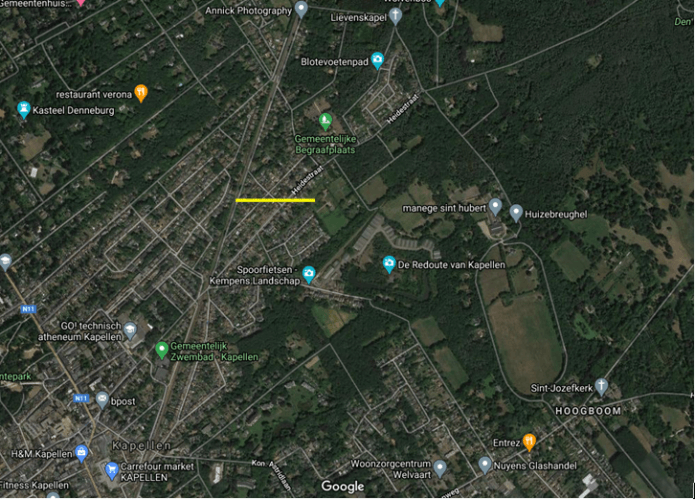 Parcours de la tornade de Kapellen du 5 octobre 2020. Source de la carte : Google Maps