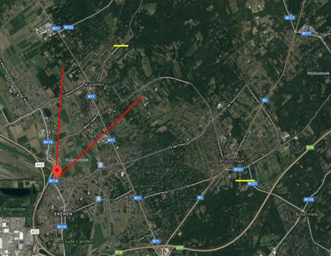 Comparaison du parcours des tornades de Braaschaat et de Kapellen du 5 octobre 2020. Source de la carte : Google Maps