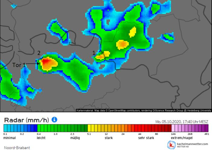 Image radar du 5 octobre 2020 à 17h40. Source : Kachelmannwetter