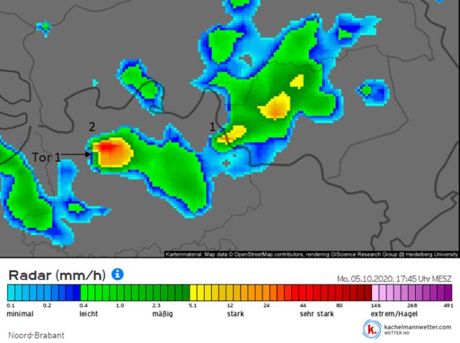 Image radar du 5 octobre 2020 à 17h45. Source : Kachelmannwetter