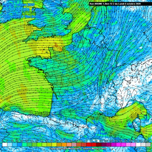 Direction et vitesse du vent à 10 mètres le 5 octobre 2020 à 18h00 selon le modèle Arome. Source : Meteociel