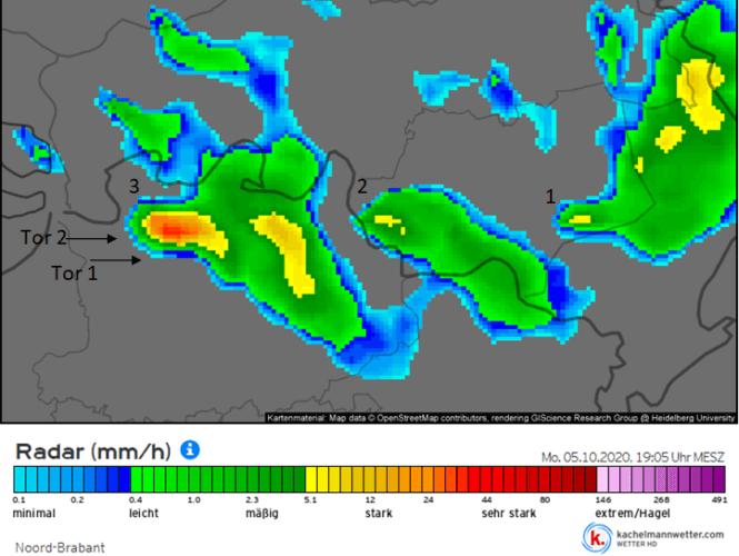 Image radar du 5 octobre 2020 à 19h05. Source : Kachelmannwetter
