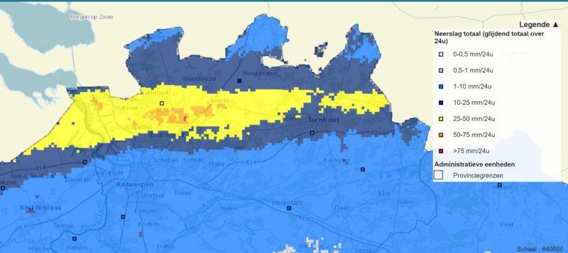 Cumuls de pluie au nord de la Belgique le 5 octobre 2020. Source : Waterinfo.be