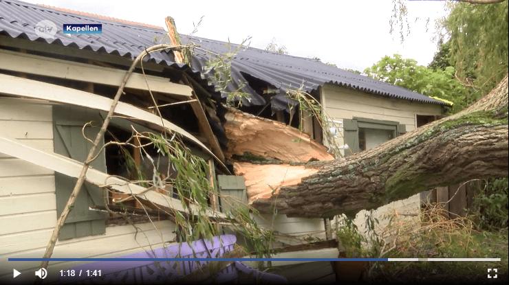 Bâtiement endommagé par la chute d'un saule à Kapellen à la suite du passage d'une tornade, le 5 octobre 2020. Capture d'écran d'un reportage d'ATV
