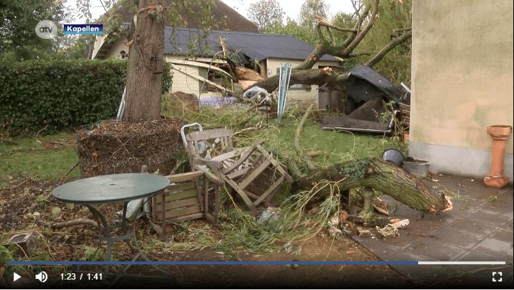 Dégâts engendrés par la tornade de Kapellen le 5 octobre 2020. Capture d'écran d'un reportage d'ATV