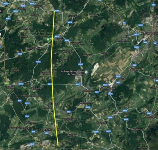 Trajectoire de la tornade d'Eprave et Laloux sur base des enquêtes de terrain effectuées par Belgorage (fond de carte : Google Maps).