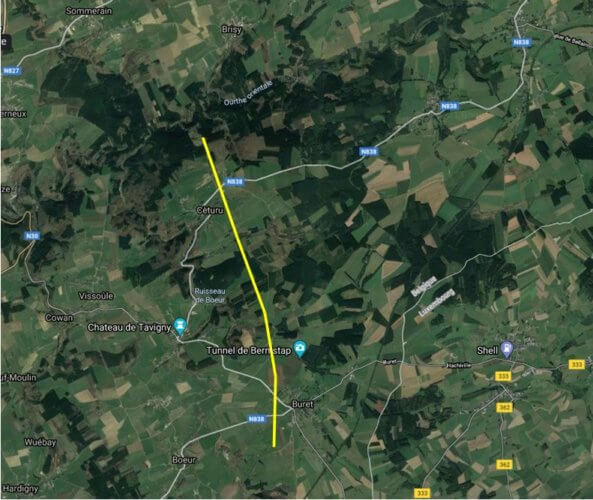 Trajectoire de la tornade de Bernistap d'après les enquêtes de terrain effectuées par Belgorage. Illustration : Google Maps