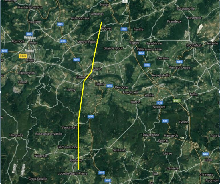Parcours de la tornade de Beauraing du 19 juin 2021. Source de la carte : Google Maps