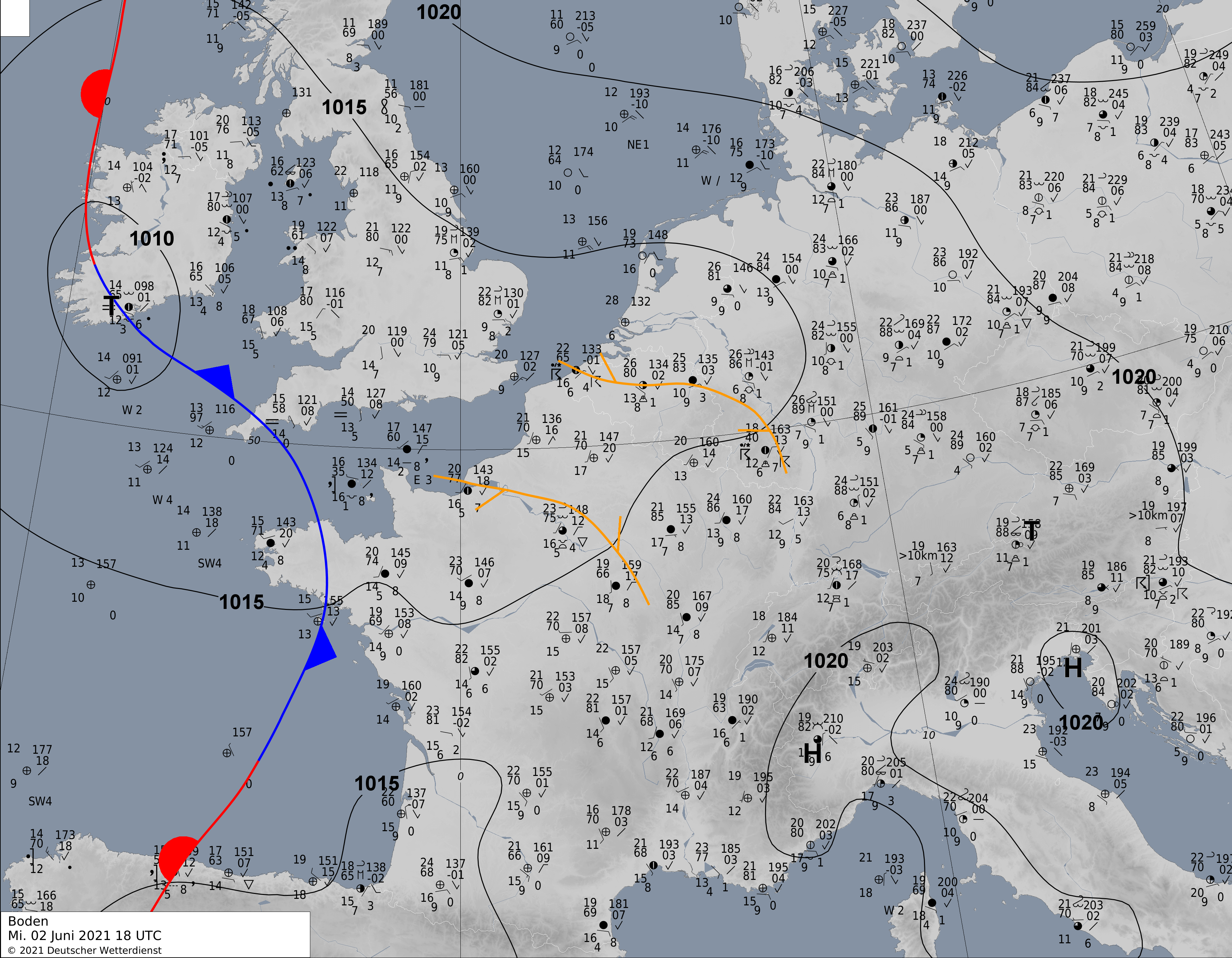 Analyse de surface du 2 juin 2021 à 20h00. Source : DWD