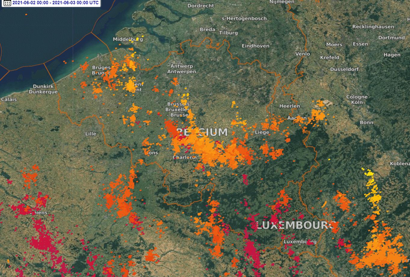 Activité électrique observée durant la journée du 2 juin 2021. Source : Lightningmaps