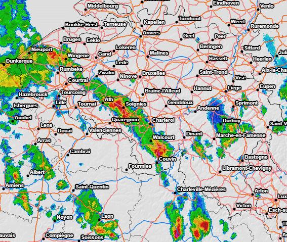 Radar de précipitations à 13h30 le 4 juin 2021. Source : Meteociel