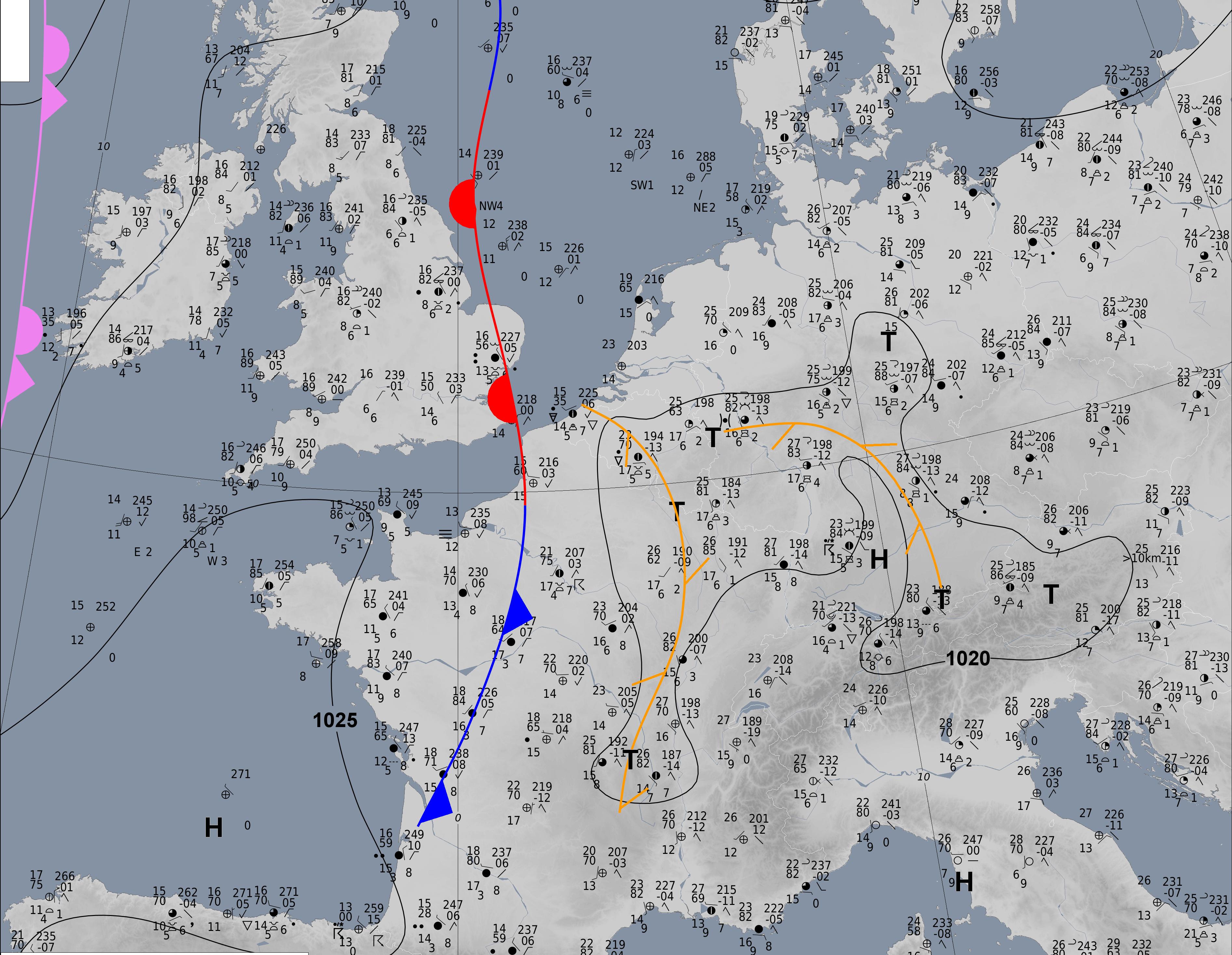 Analyse de surface du 4 juin 2021 14h00. Source : DWD
