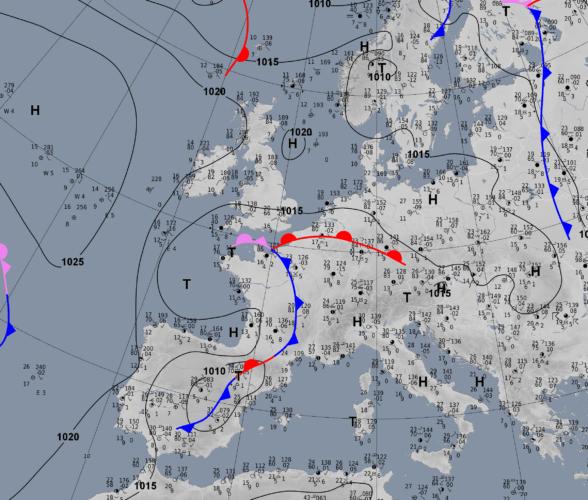 Analyse de surface à 20h00, le 27 juin 2021. Source : DWD
