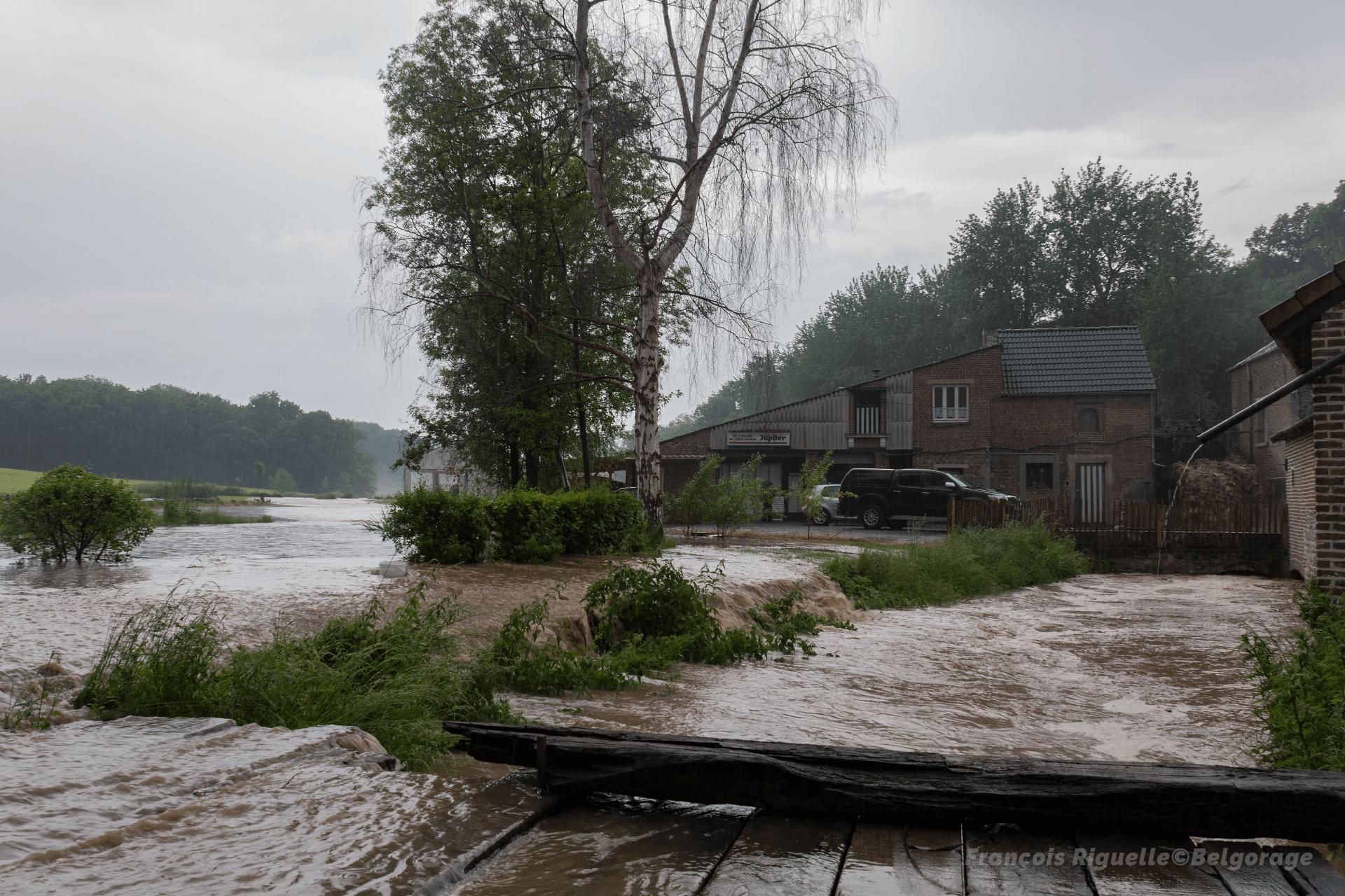 Inondations à Jauche, en province du Brabant Wallon, le 4 juin 2021 vers 16h30.