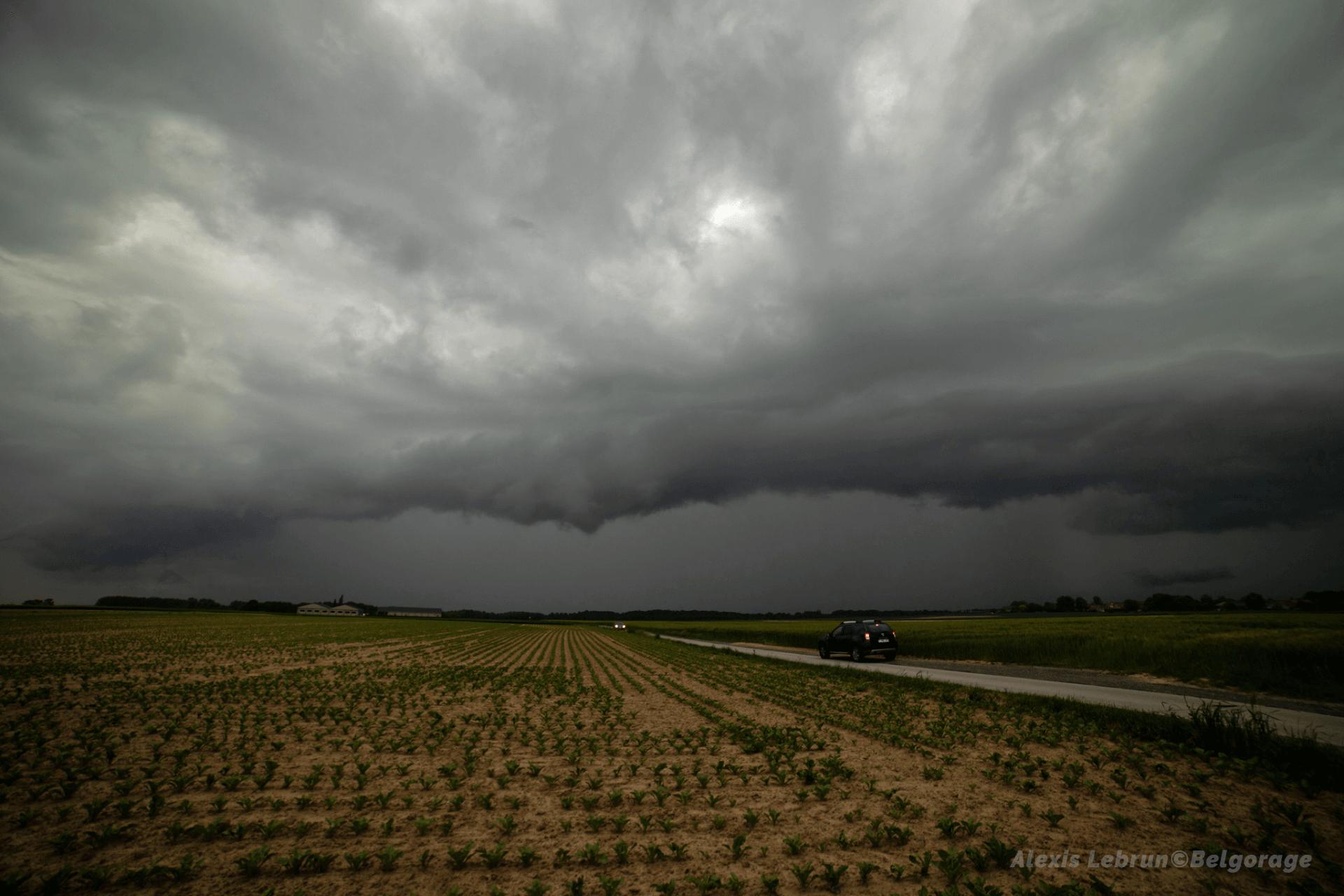 Arcus précédant la masse pluvio-orageuse en phase d'effondrement, depuis la région de Beauvechain, en province de Brabant Wallon, le 4 juin 2021 à 18h45.